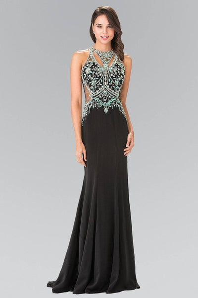Long Black Dress with Beaded Top by Elizabeth K GL2221-Long Formal Dresses-ABC Fashion