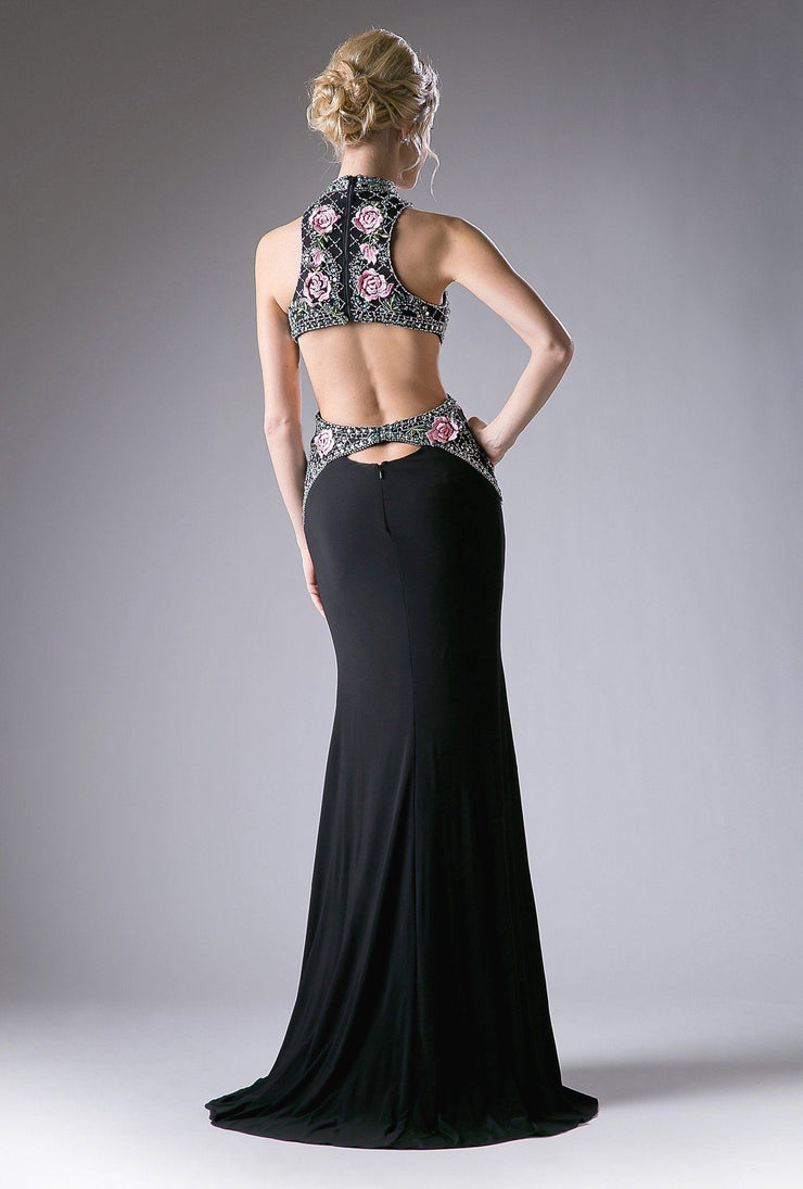 Long Black Dress with Floral Embroidered Top by Cinderella Divine KC1799-Long Formal Dresses-ABC Fashion
