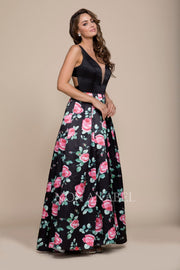 Long Black Dress with Pink Floral Print Skirt by Nox Anabel 8351-Long Formal Dresses-ABC Fashion