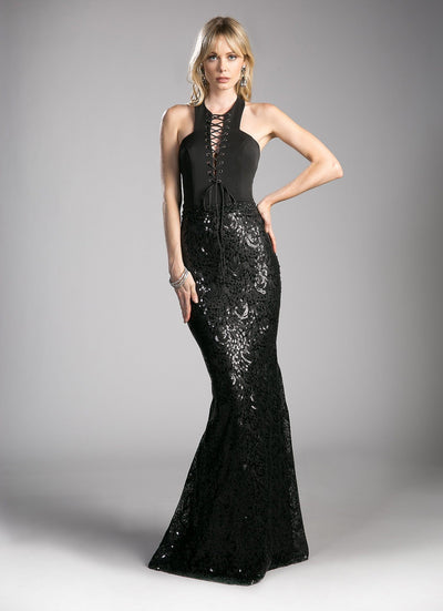 Long Black Halter Dress with Sequined Skirt by Cinderella Divine 62495-Long Formal Dresses-ABC Fashion