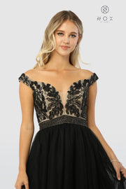 Long Black Off Shoulder Dress with Beaded Bodice by Nox Anabel E166-Long Formal Dresses-ABC Fashion