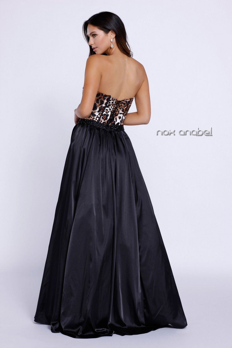 Long Black Strapless Dress with Leopard Print Top by Nox Anabel 8230-Long Formal Dresses-ABC Fashion