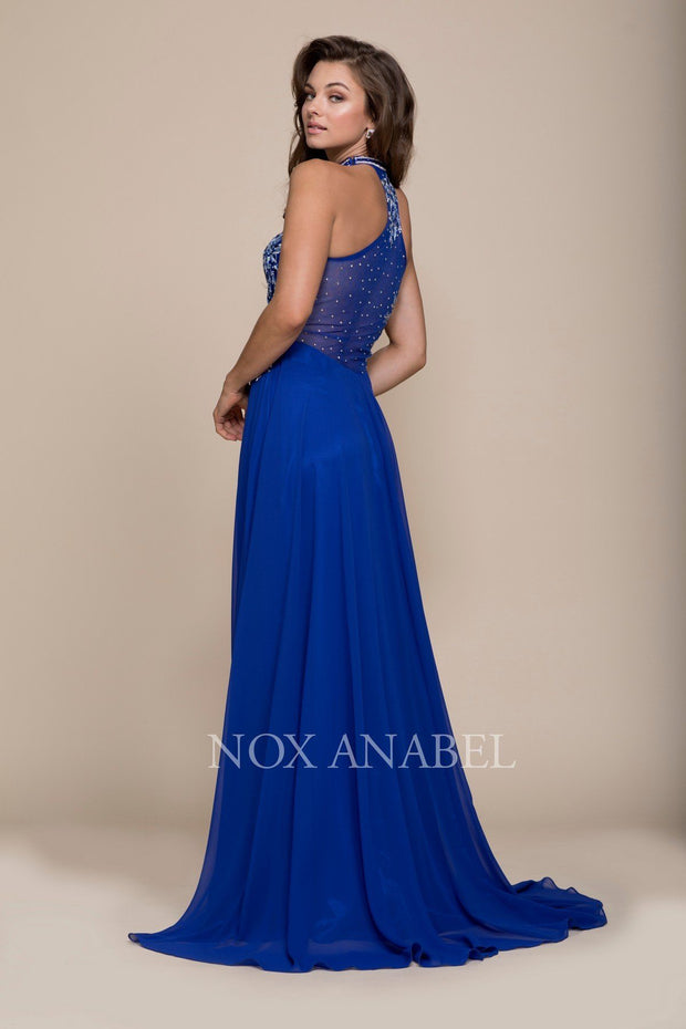 Long Blue Dress with Floral Embroidery by Nox Anabel 8305-Long Formal Dresses-ABC Fashion