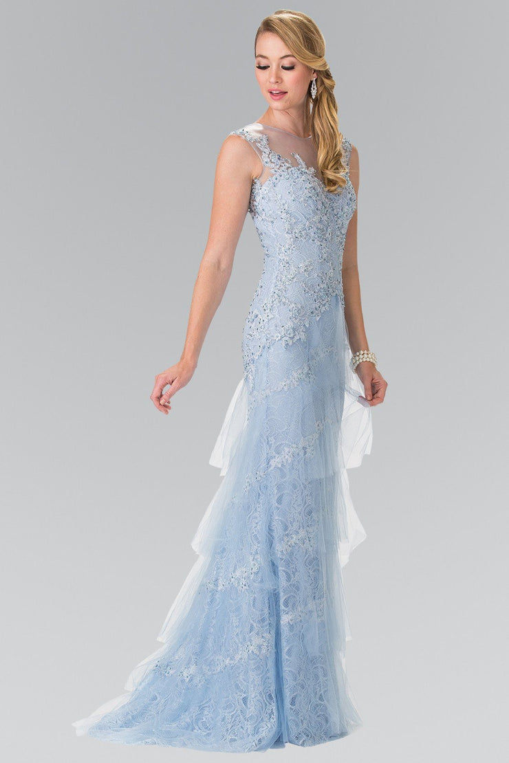 Long Blue Sleeveless Lace Dress by Elizabeth K GL2258-Long Formal Dresses-ABC Fashion