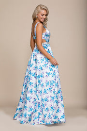 Long Blue/Purple Floral Print Dress by Nox Anabel 8290-Long Formal Dresses-ABC Fashion