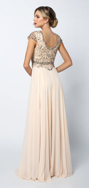 Long Cap Sleeve Chiffon Dress with Beaded Bodice by Juliet 657-Long Formal Dresses-ABC Fashion