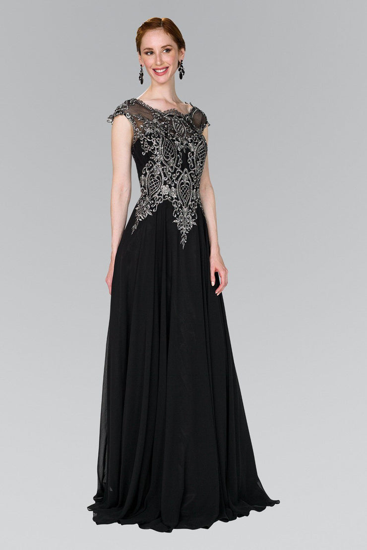 Long Cap Sleeve Dress with Lace Applique by Elizabeth K GL2407-Long Formal Dresses-ABC Fashion
