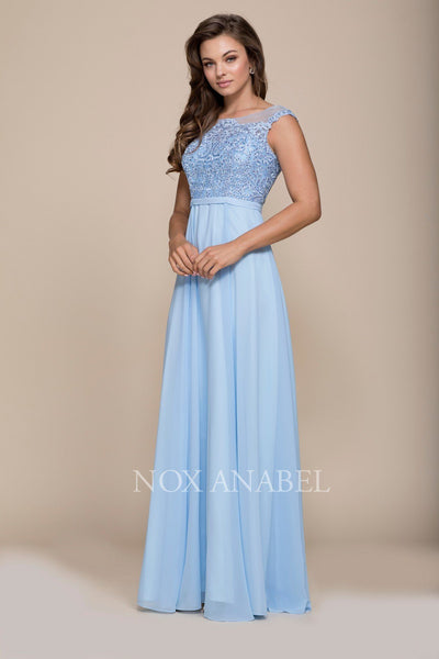 Long Cap Sleeve Dress with Lace Bodice by Nox Anabel 8314-Long Formal Dresses-ABC Fashion