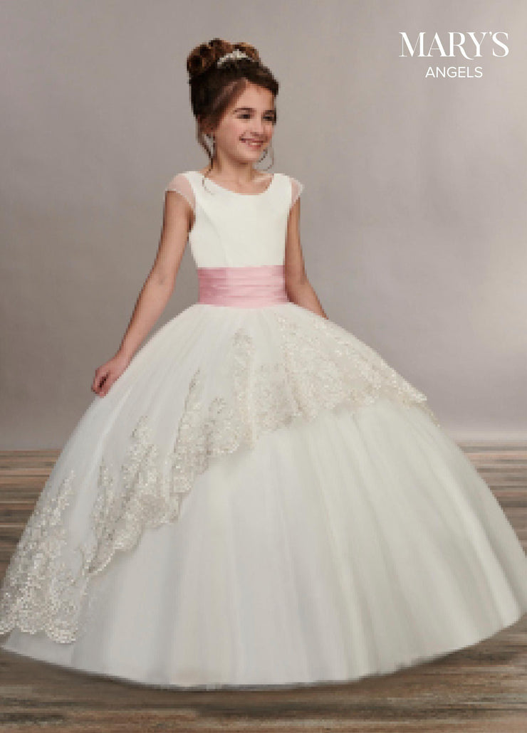 Long Cap Sleeve Flower Girl Dress by Mary's Bridal MB9047-Girls Formal Dresses-ABC Fashion