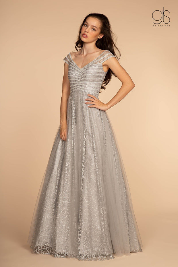 Long Cap-Sleeve Glitter Print Dress by Elizabeth K GL2526-Long Formal Dresses-ABC Fashion