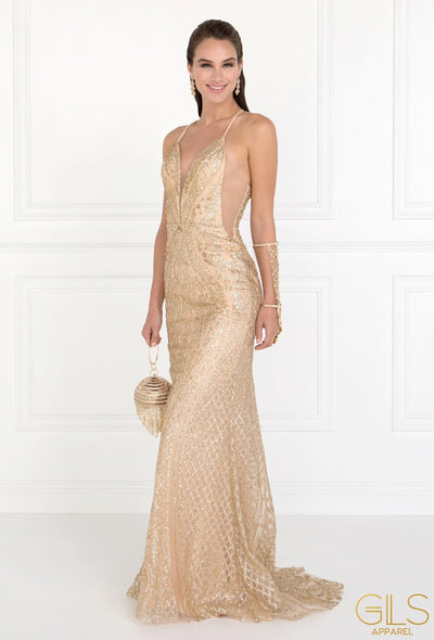 Long Champagne Glitter Dress with Sheer Side Panels by Elizabeth K GL1546-Long Formal Dresses-ABC Fashion