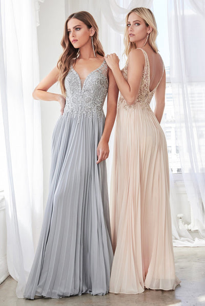 Long Chiffon Dress with Applique Bodice by Cinderella Divine CD0158