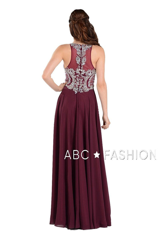 Long Chiffon Dress with Beaded Illusion Bodice by Poly USA 7912-Long Formal Dresses-ABC Fashion