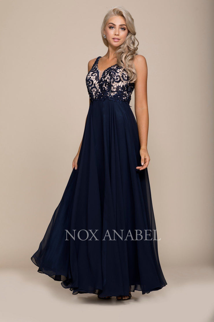 Long Chiffon Dress with Lace Bodice by Nox Anabel 8297-Long Formal Dresses-ABC Fashion