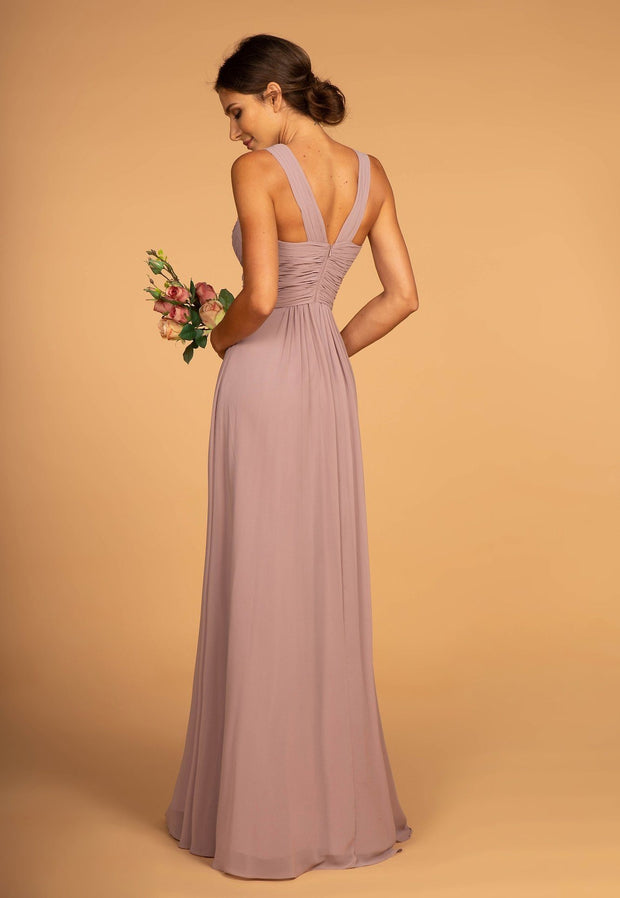 Long Chiffon Dress with Ruched Sweetheart Bodice by Elizabeth K GL2608-Long Formal Dresses-ABC Fashion