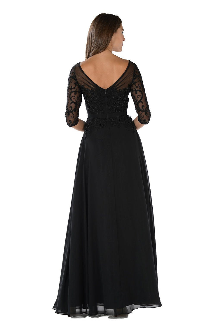 Long Black Dress with Illusion Lace Sleeves by Poly USA-Long Formal Dresses-ABC Fashion
