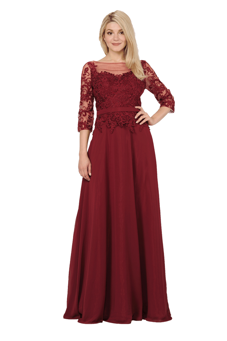 Long Chiffon Dress with Sheer Lace Sleeves by Poly USA 7598