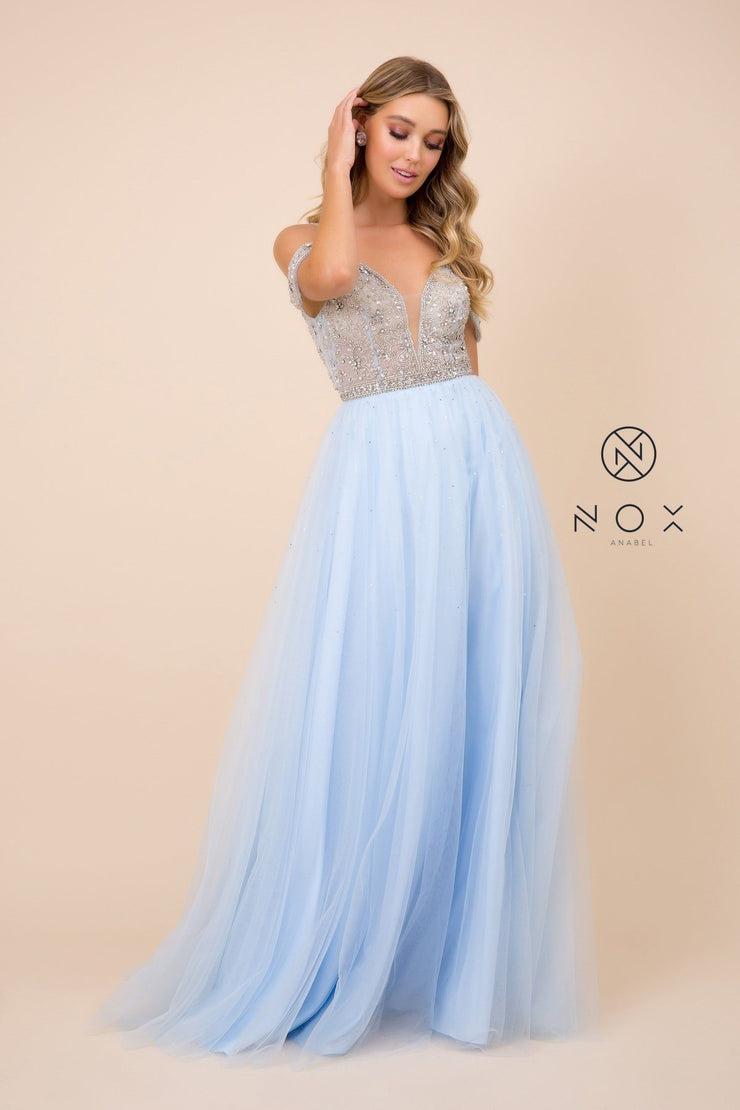 Long Cold Shoulder Beaded Bodice Dress by Nox Anabel L342