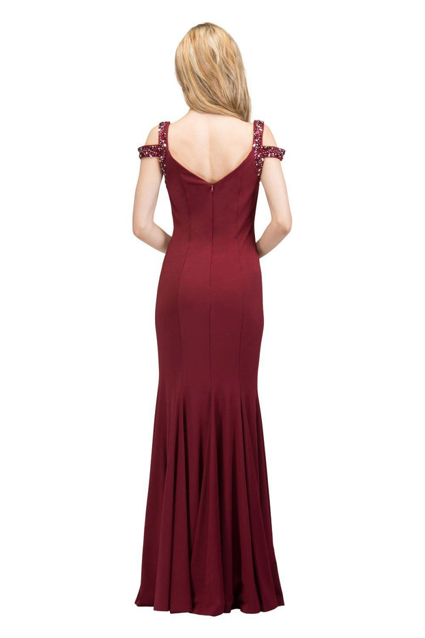 Long Cold Shoulder Dress with Beaded Straps by Star Box 81007-Long Formal Dresses-ABC Fashion