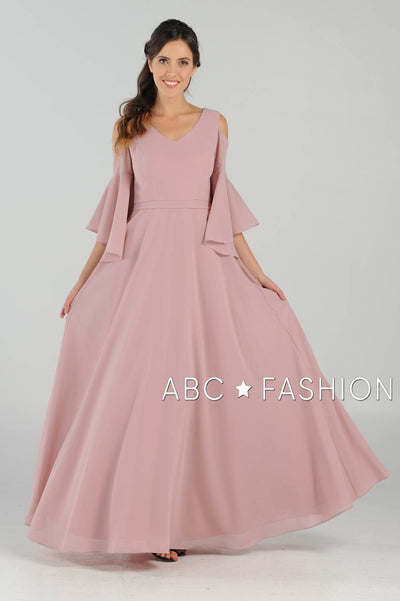Long Cold Shoulder Dress with Bell Sleeves by Poly USA 8300-Long Formal Dresses-ABC Fashion