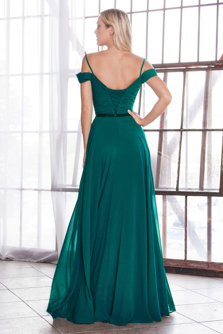 Long Cold Shoulder Dress with Corset Back by Cinderella Divine CD0156