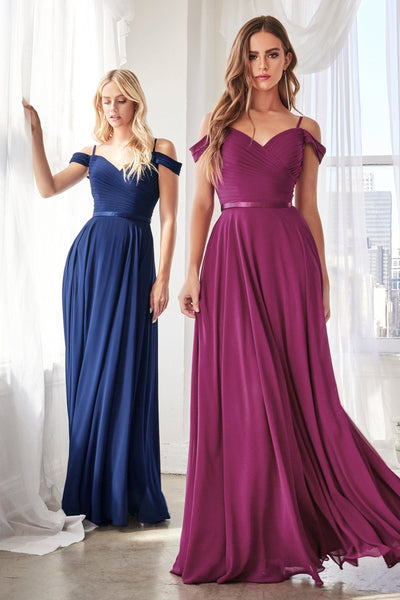 Long Cold Shoulder Chiffon Dress by Cinderella Divine CD0156