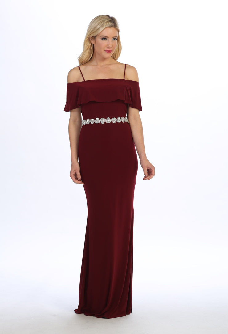 Long Cold Shoulder Dress with Jeweled Waistband by Celavie 6332-Long Formal Dresses-ABC Fashion
