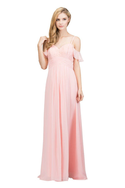 Long Cold Shoulder Dress with Lace Bodice by Star Box 81016-Long Formal Dresses-ABC Fashion