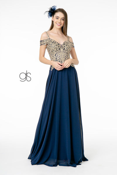 Long Cold Shoulder Dress with Gold Appliques by Elizabeth K GL2998
