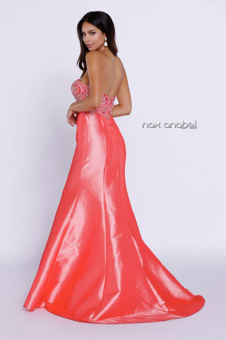 Long Coral Strapless Dress with Beaded Design by Nox Anabel 8244-Long Formal Dresses-ABC Fashion