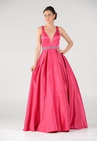 Long Deep V-Neck Dress with Beaded Waist by Poly USA 7932-Long Formal Dresses-ABC Fashion