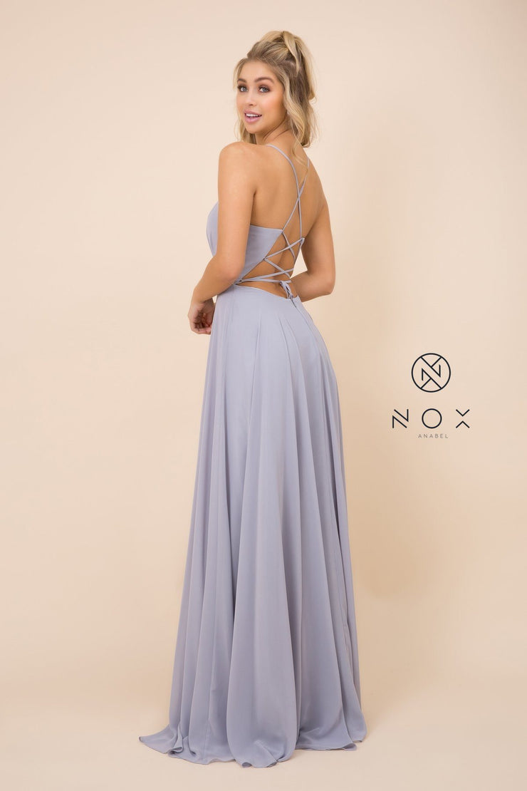 Long Deep V-Neck Dress with Corset Back by Nox Anabel R416