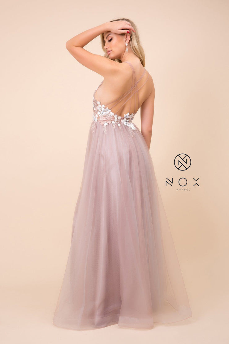 Long Deep V-Neck Dress with Strappy Back by Nox Anabel E372
