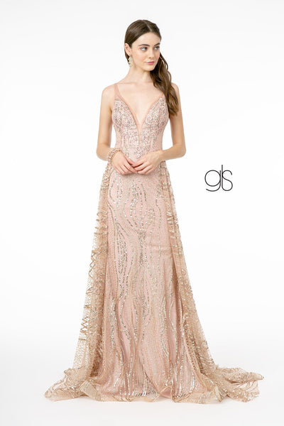Long Deep V-Neck Glitter Dress by Elizabeth K GL2955