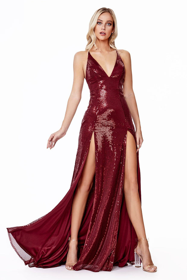 Long Double Slit Sequin Dress by Cinderella Divine CD915