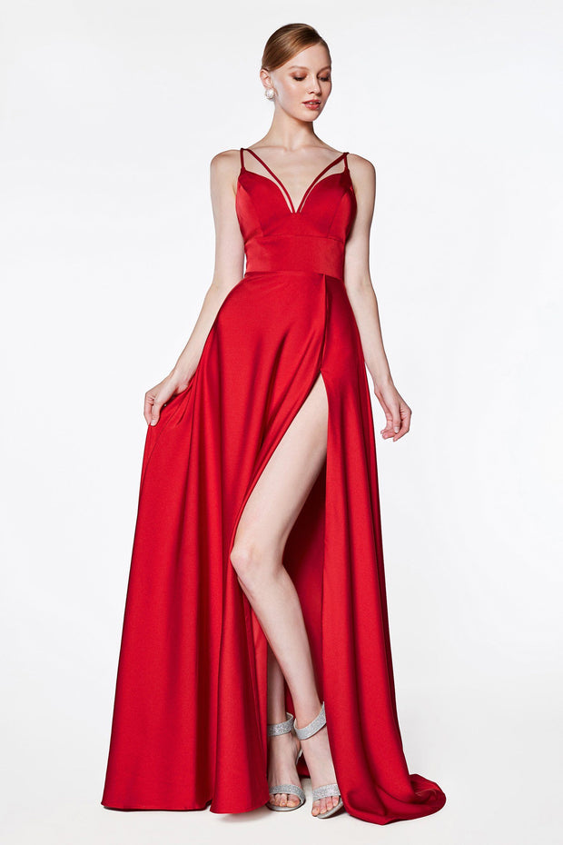Long Double Strap V-Neck Dress with Train by Cinderella Divine CS034-Long Formal Dresses-ABC Fashion