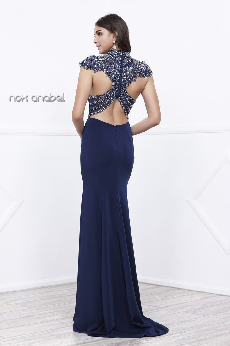 Long Dress with Sheer Embellished Back by Nox Anabel 8293-Long Formal Dresses-ABC Fashion