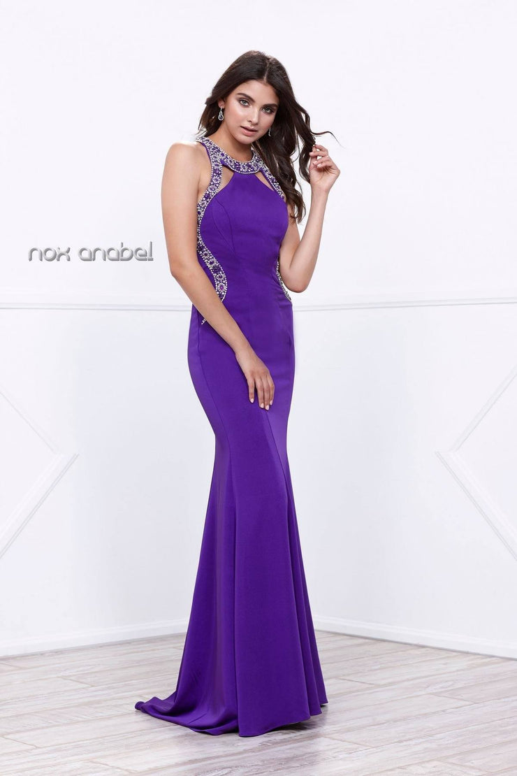 Long Embellished Cutout Halter Gown by Nox Anabel 8294-Long Formal Dresses-ABC Fashion