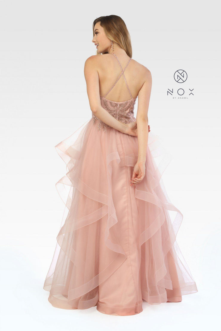 Long Embellished Halter Dress with Ruffled Skirt by Nox Anabel S266-Long Formal Dresses-ABC Fashion
