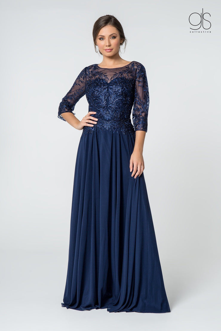 Long Embroidered Bodice Dress with 3/4 Sleeves by Elizabeth K GL2810-Long Formal Dresses-ABC Fashion