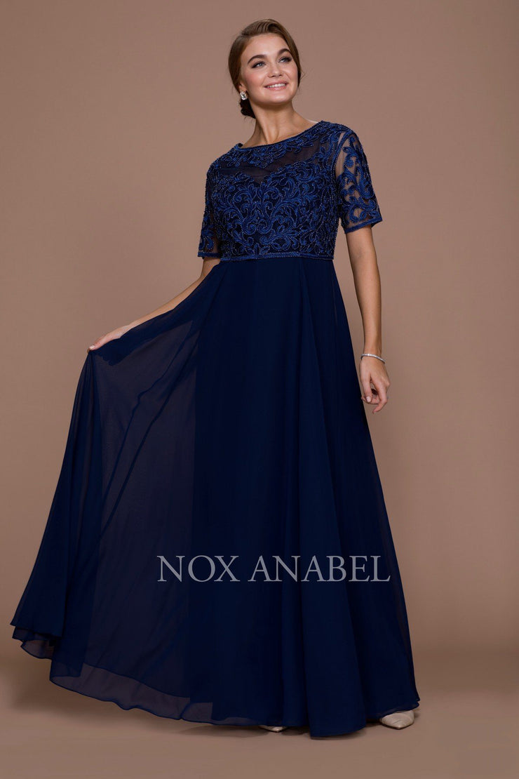 Long Embroidered Chiffon Dress by Nox Anabel 5151-Long Formal Dresses-ABC Fashion