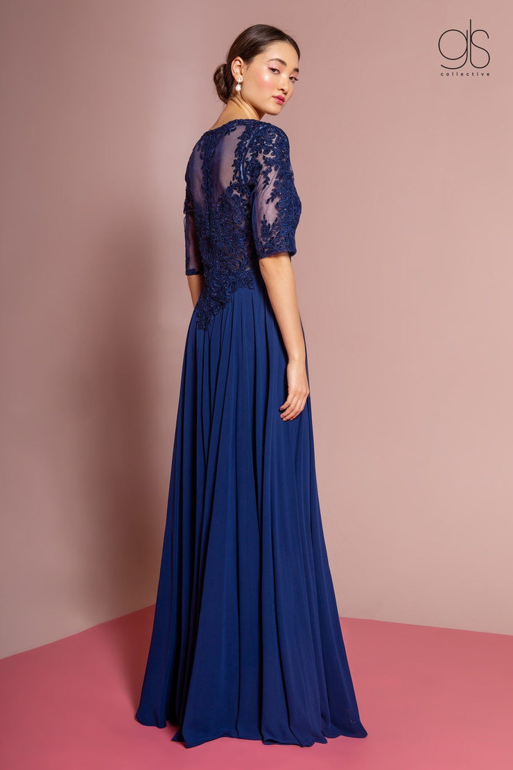 Long Embroidered Chiffon Dress with Mid Sleeves by Elizabeth K GL2681-Long Formal Dresses-ABC Fashion