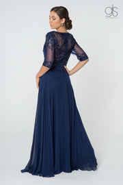 Long Embroidered Dress with Mid-Sleeves by Elizabeth K GL2812-Long Formal Dresses-ABC Fashion
