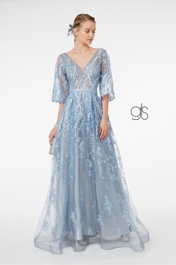 Long Embroidered Dress with Mid Sleeves by Elizabeth K GL2973