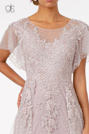 Long Embroidered Dress with Short Sleeves by Elizabeth K GL2881