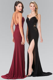 Long Embroidered Dress with Side Slit by Elizabeth K GL2223-Long Formal Dresses-ABC Fashion
