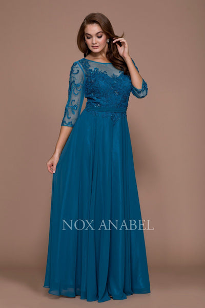 Long Embroidered Illusion Dress with Sleeves by Nox Anabel 5145-Long Formal Dresses-ABC Fashion