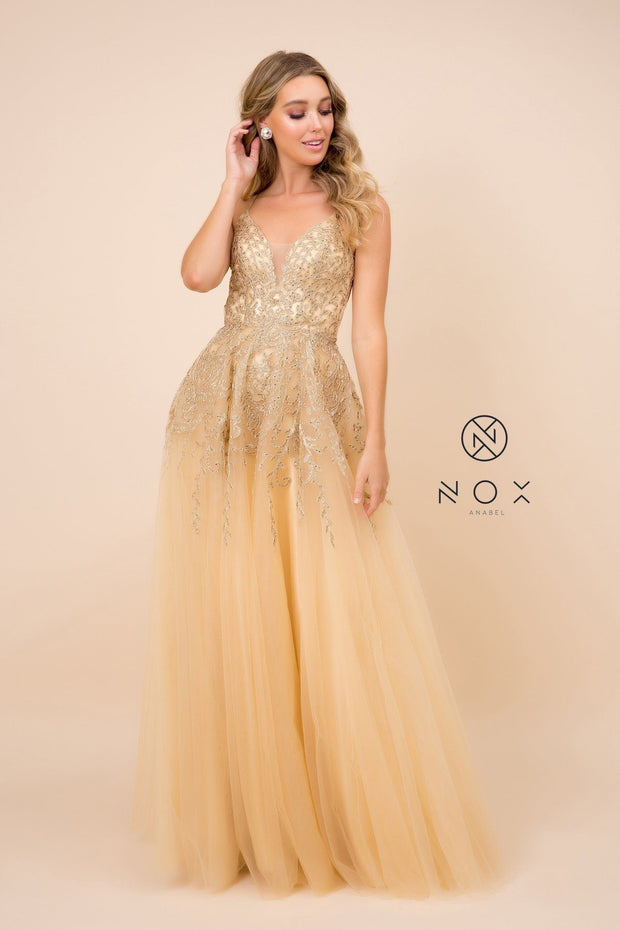 Long Embroidered V-Neck Tulle Dress by Nox Anabel R345