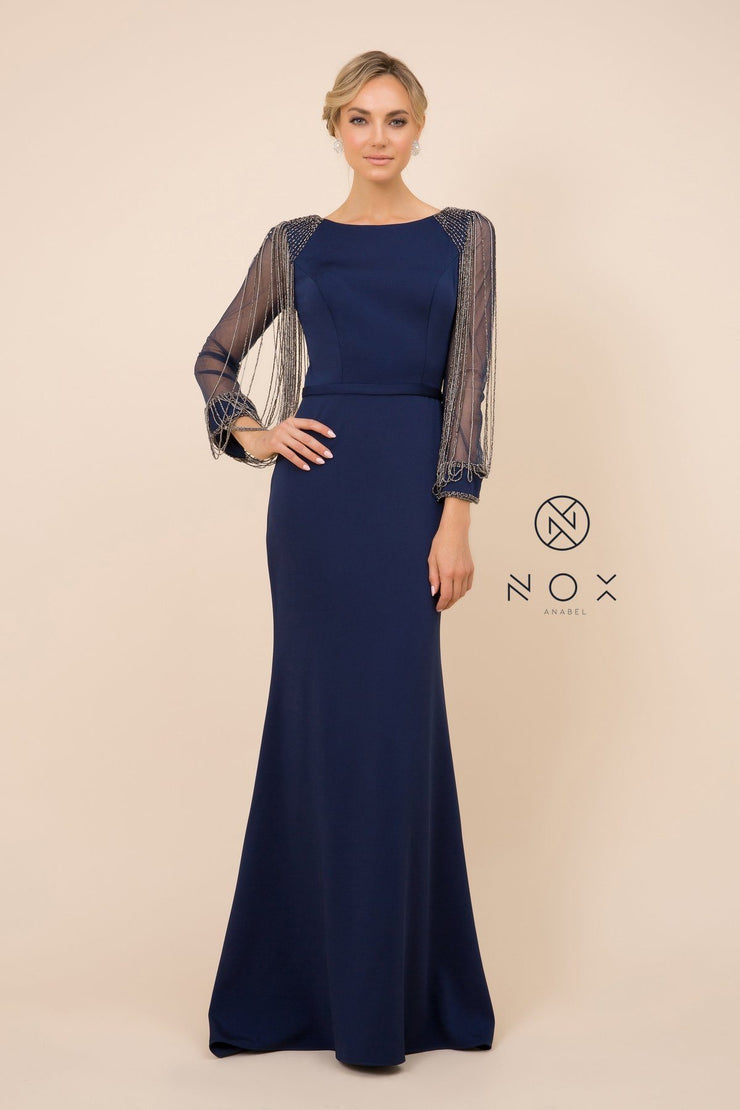 Long Fitted Dress with Beaded Puff Sleeves by Nox Anabel Y410