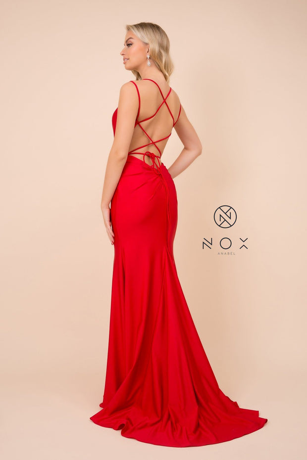 Long Fitted Dress with Corset Open Back by Nox Anabel C301